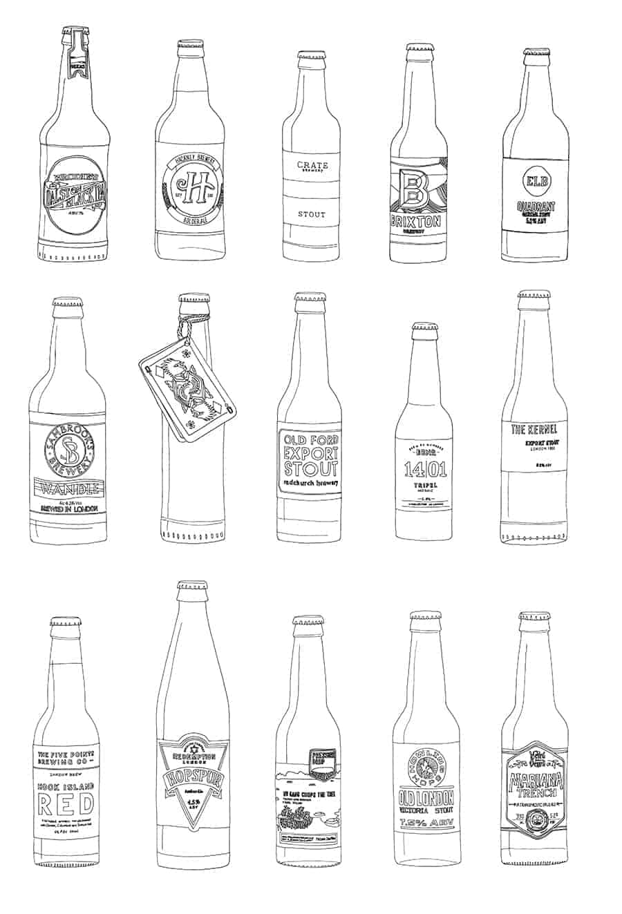 London Craft Beer Drawings illustration Jitesh Patel