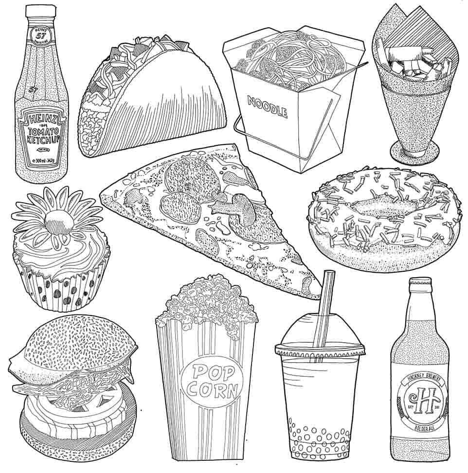 Fruit and Fast Food Detailed Drawings Jitesh Patel Illustration